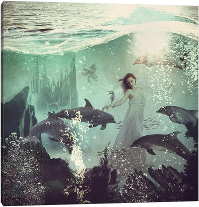 The Sea Unicorn Lady Canvas Art Print