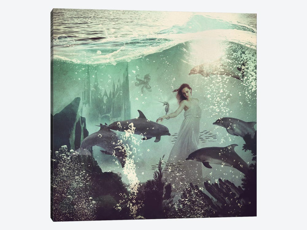 The Sea Unicorn Lady by Paula Belle Flores 1-piece Canvas Art
