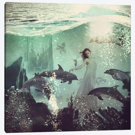 The Sea Unicorn Lady Canvas Print #PBF77} by Paula Belle Flores Canvas Artwork