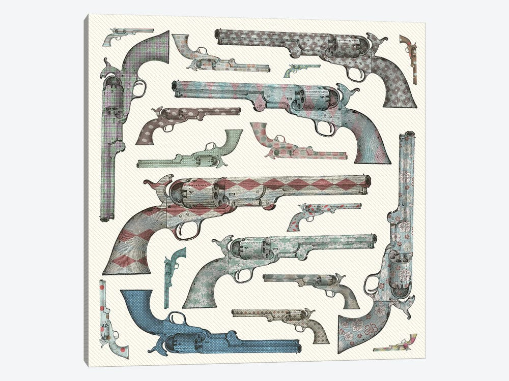 Vintage Pistols by Paula Belle Flores 1-piece Canvas Print