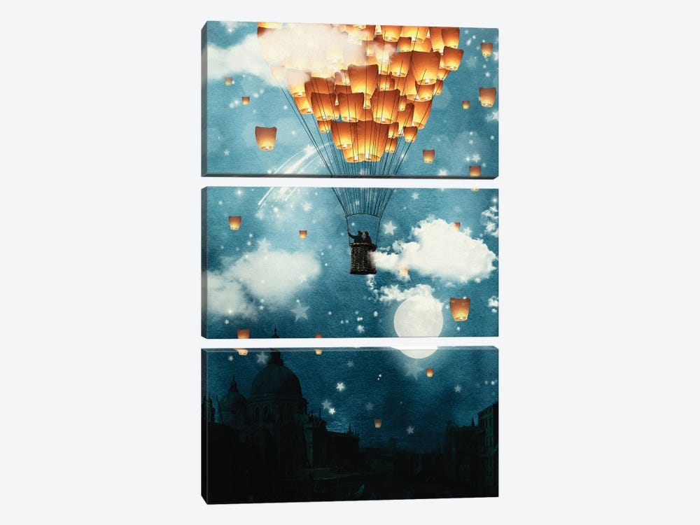 Where All The Wishes Come True by Paula Belle Flores 3-piece Canvas Art Print