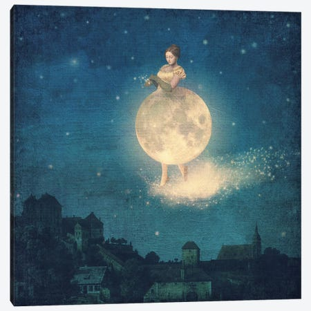 Here Comes The Night Lady Canvas Print #PBF91} by Paula Belle Flores Canvas Art Print