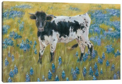 Cutie In The Bluebonnets Canvas Art Print