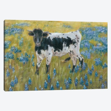 Cutie In The Bluebonnets Canvas Print #PBR12} by Pam Britton Canvas Art Print