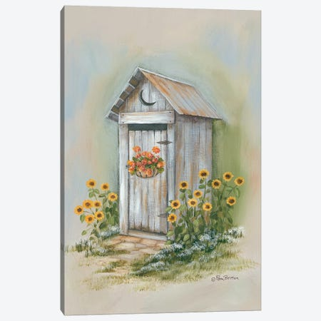 Country Outhouse I Canvas Print #PBR15} by Pam Britton Canvas Artwork