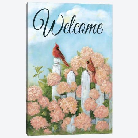 Cardinal Pair Welcome Canvas Print #PBR1} by Pam Britton Art Print