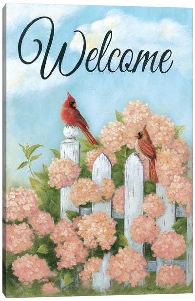 Cardinal Pair Welcome Canvas Art Print