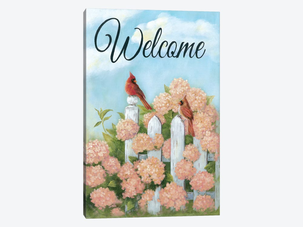 Cardinal Pair Welcome by Pam Britton 1-piece Canvas Print