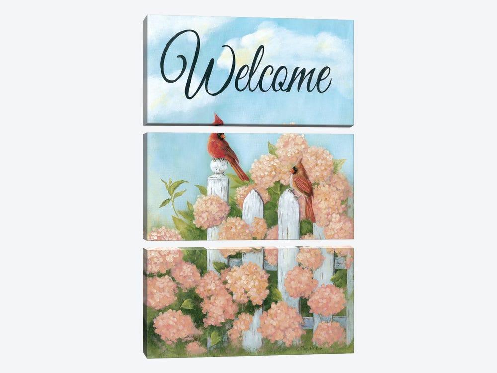 Cardinal Pair Welcome by Pam Britton 3-piece Art Print