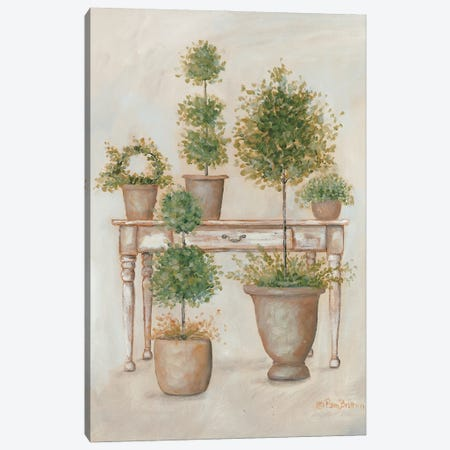 Potting Bench & Topiaries II Canvas Print #PBR21} by Pam Britton Canvas Wall Art