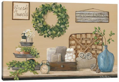 Farmhouse Bath I Canvas Art Print