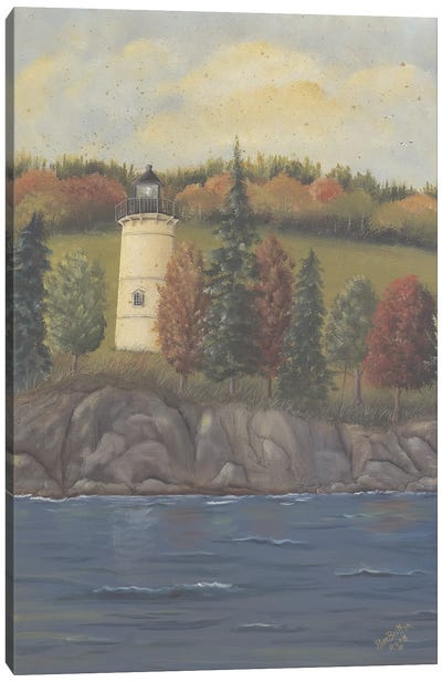 Lighthouse In Autumn Canvas Art Print