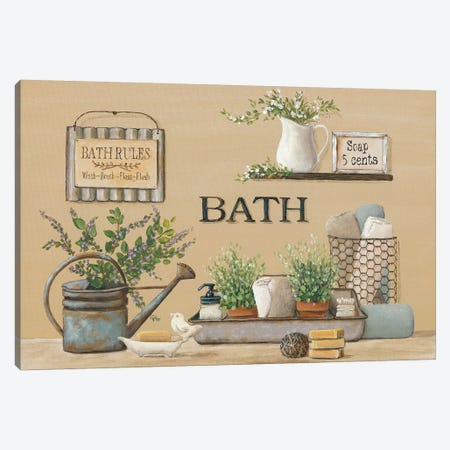 Farmhouse Bath II Canvas Print #PBR3} by Pam Britton Art Print
