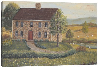 Stone House With Wild Flowers Canvas Art Print
