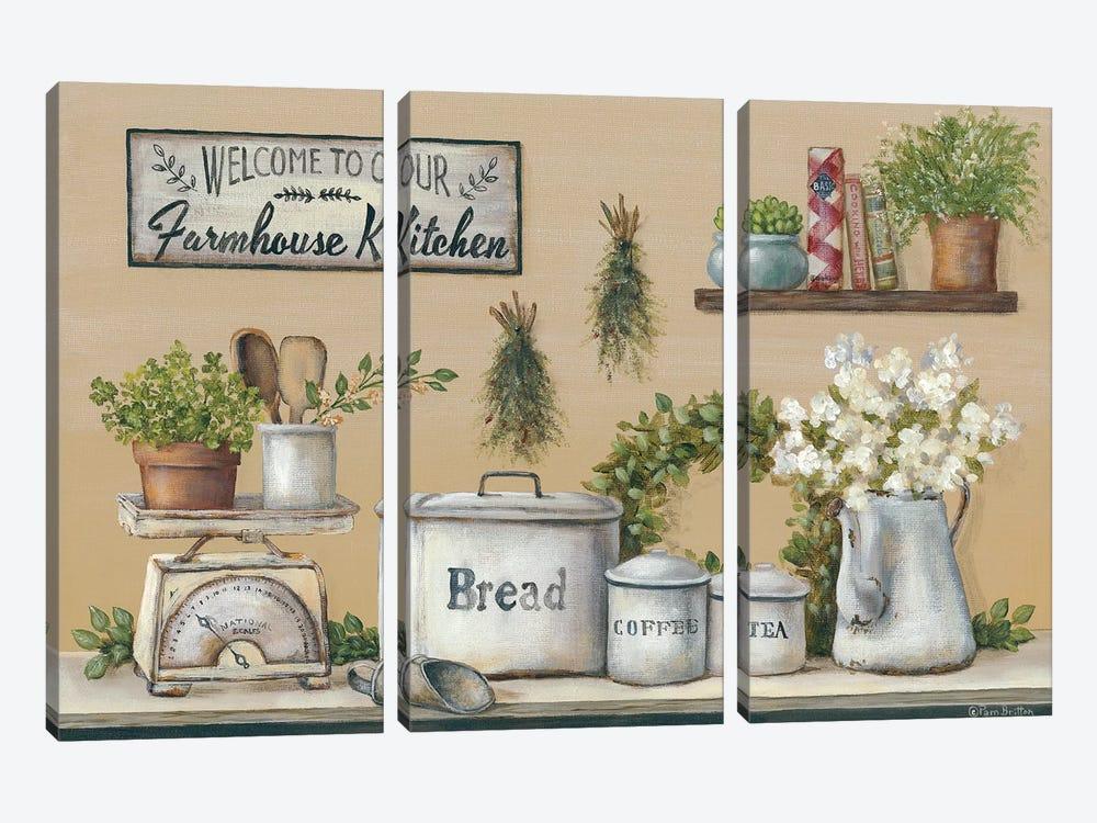 Garden Farmhouse Kitchen by Pam Britton 3-piece Canvas Print