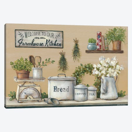 Garden Farmhouse Kitchen Canvas Print #PBR5} by Pam Britton Canvas Wall Art