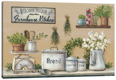 Garden Farmhouse Kitchen Canvas Art Print