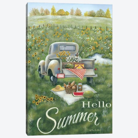 Hello Summer Canvas Print #PBR6} by Pam Britton Canvas Artwork