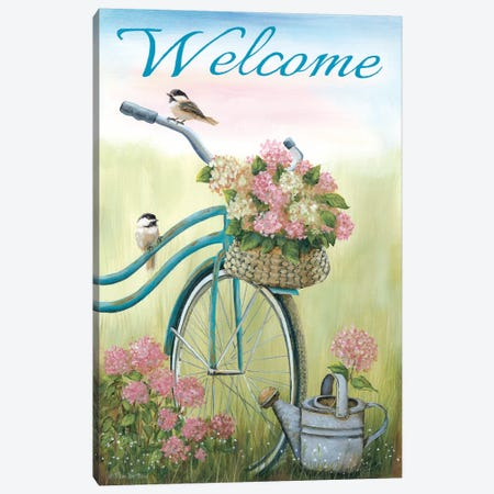 Old Bike Welcome Canvas Print #PBR7} by Pam Britton Canvas Wall Art