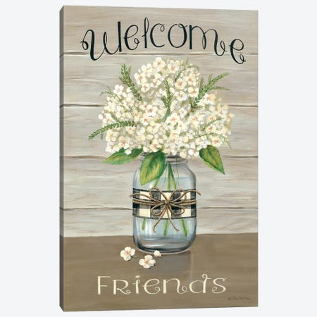 Welcome Friends Mason Jar Canvas Print #PBR8} by Pam Britton Canvas Print