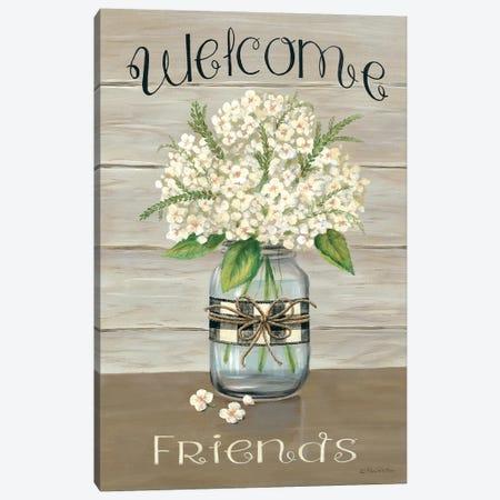 Welcome Friends Mason Jar 3-Piece Canvas #PBR8} by Pam Britton Canvas Print