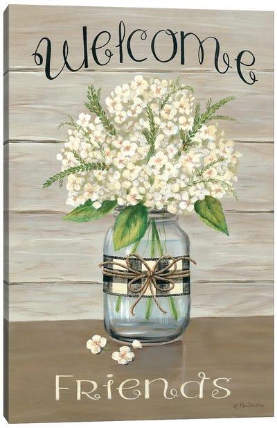 Welcome Friends Mason Jar Canvas Art Print