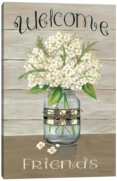 Welcome Friends Mason Jar Canvas Art Print