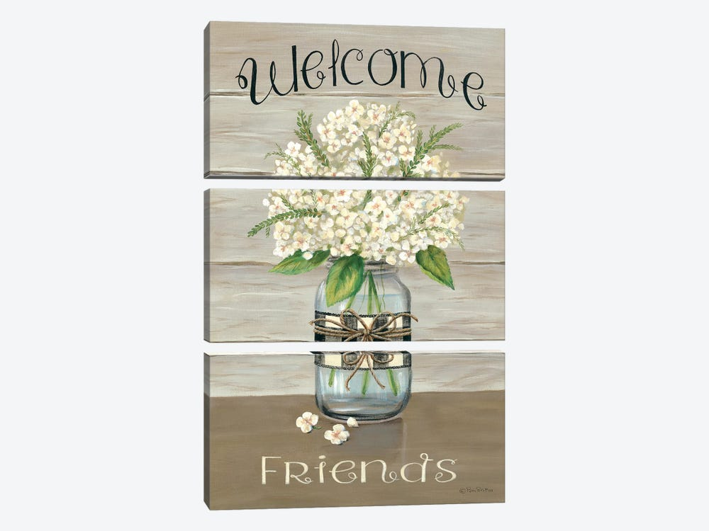 Welcome Friends Mason Jar by Pam Britton 3-piece Canvas Artwork