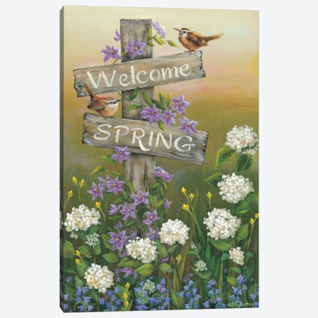 Welcome Spring Canvas Print #PBR9} by Pam Britton Canvas Art Print