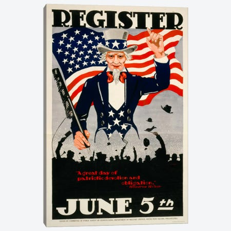 Register June 5th, 1917, WWI Canvas Print #PCA100} by Print Collection Canvas Art