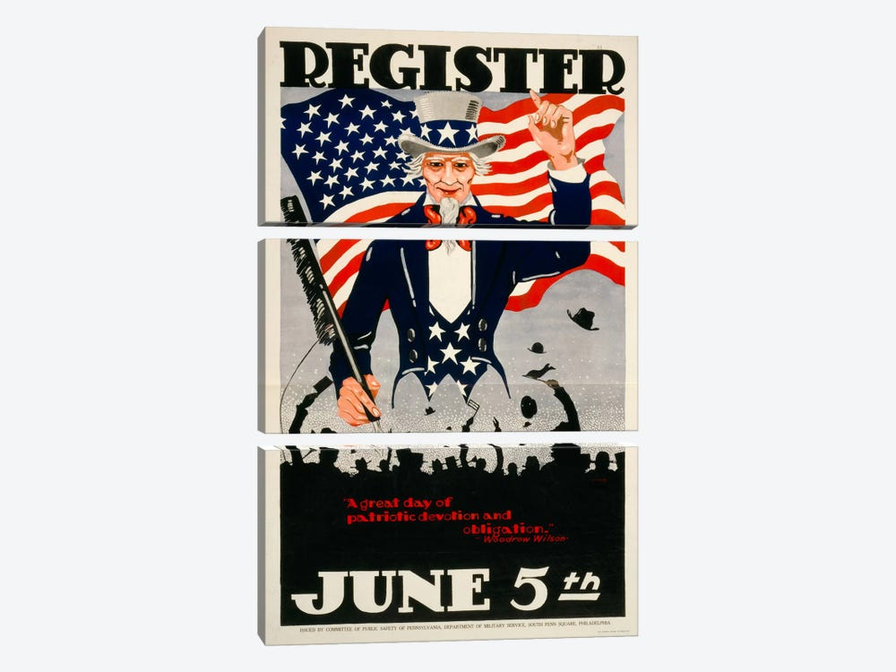 Register June 5th, 1917, WWI by Print Collection 3-piece Canvas Artwork