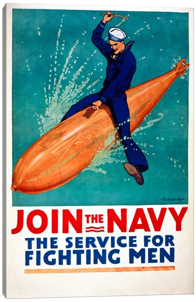 Join the Navy, the Service for Fighting Men Canvas Print #PCA102