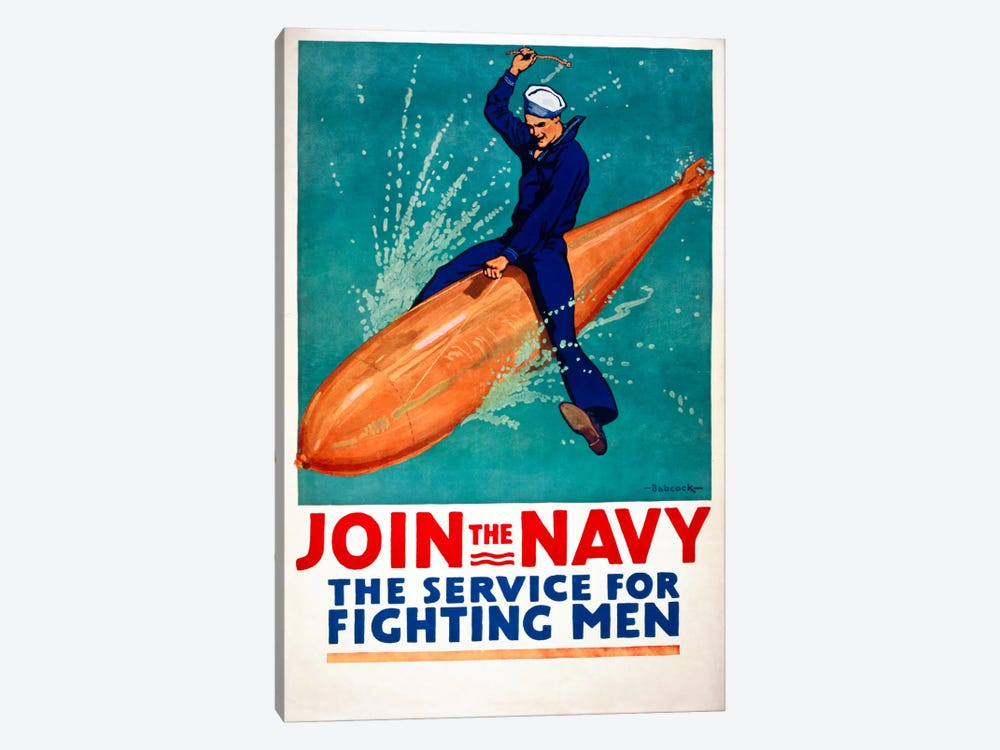 Join the Navy, the Service for Fighting Men 1-piece Canvas Wall Art