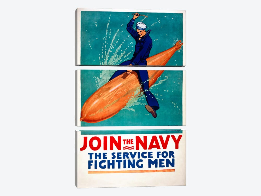 Join the Navy, the Service for Fighting Men by Print Collection 3-piece Canvas Art