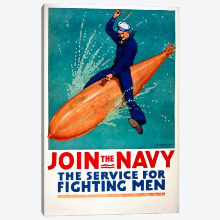 Join the Navy, the Service for Fighting Men Canvas Print #PCA102} by Print Collection Canvas Art
