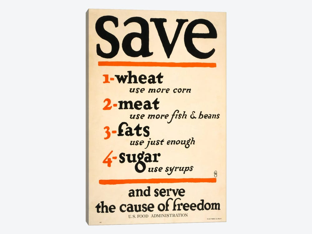 Save and Serve the Cause of Freedom by Print Collection 1-piece Canvas Print