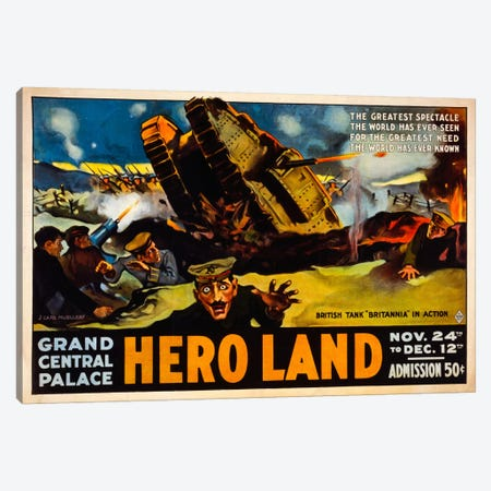 Hero Land, WWI Movie Poster Canvas Print #PCA106} by Print Collection Art Print