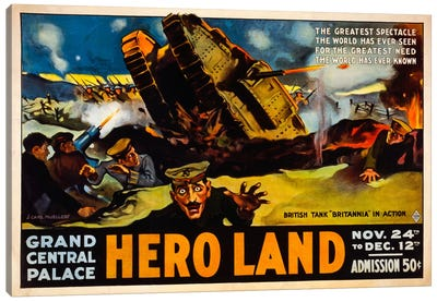 Hero Land, WWI Movie Poster Canvas Art Print