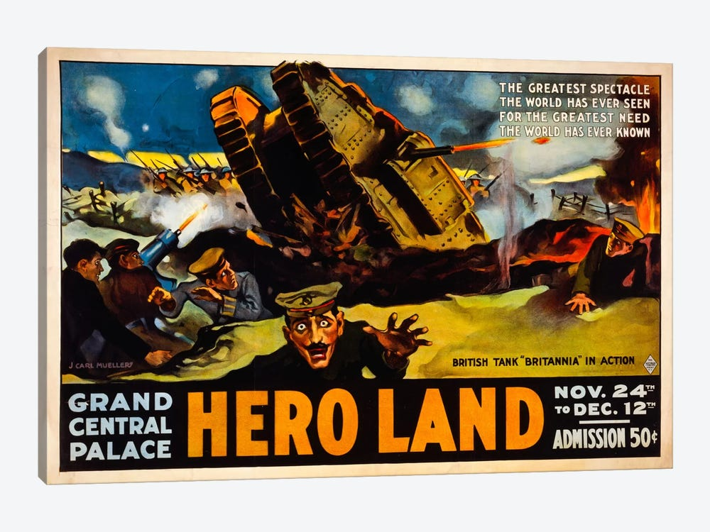 Hero Land, WWI Movie Poster by Print Collection 1-piece Canvas Wall Art