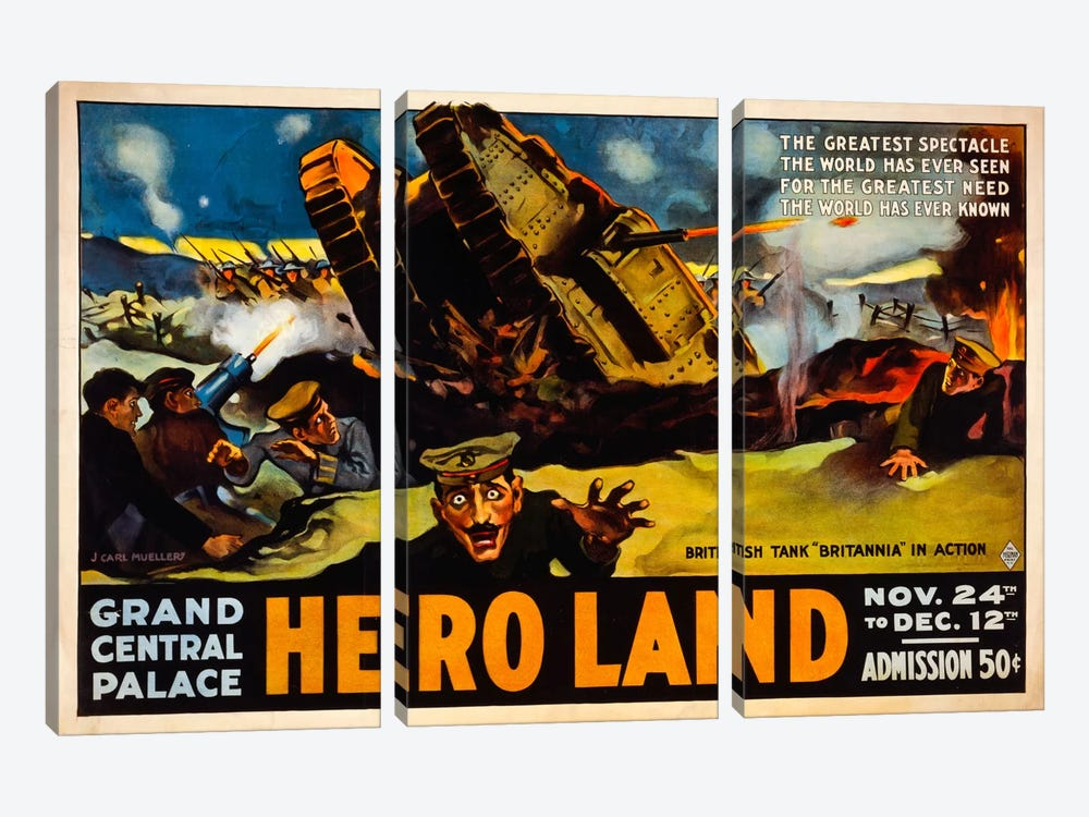 Hero Land, WWI Movie Poster by Print Collection 3-piece Canvas Wall Art