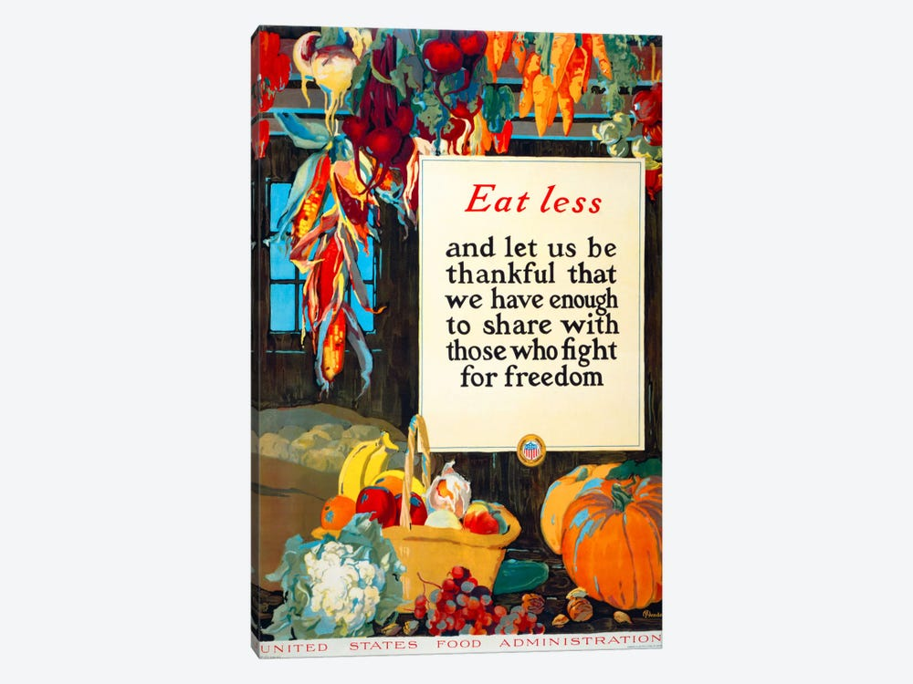 Eat Less, and Let us be Thankful by Print Collection 1-piece Canvas Art