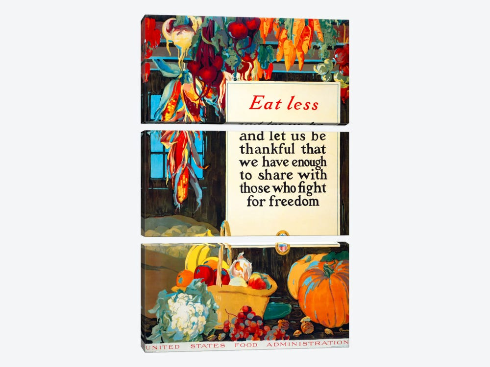 Eat Less, and Let us be Thankful by Print Collection 3-piece Canvas Wall Art