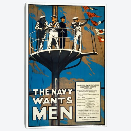 The Navy Wants Men Canvas Print #PCA112} by Print Collection Art Print