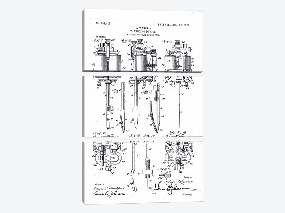 Electric Tattooing Device, Charles Wagner, 1904 by Print Collection 3-piece Canvas Wall Art