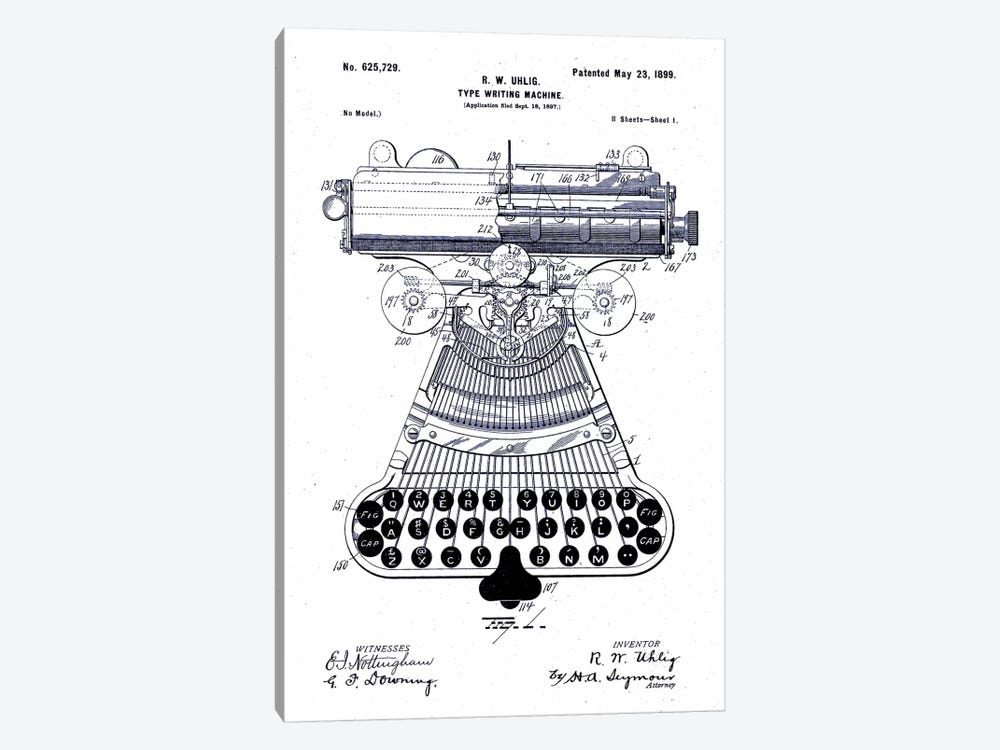 Type Writing Machine, Patented 1899 by Print Collection 1-piece Canvas Print