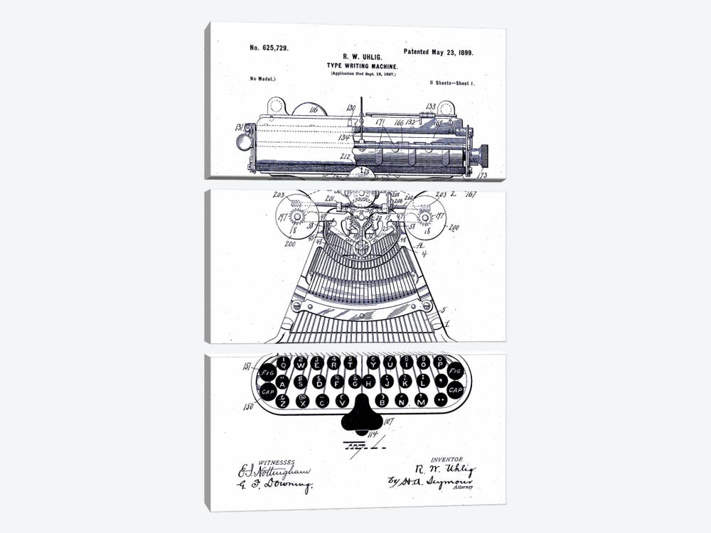 Type Writing Machine, Patented 1899 by Print Collection 3-piece Canvas Print