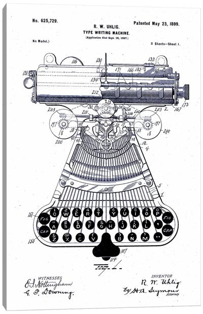 Type Writing Machine, Patented 1899 Canvas Art Print