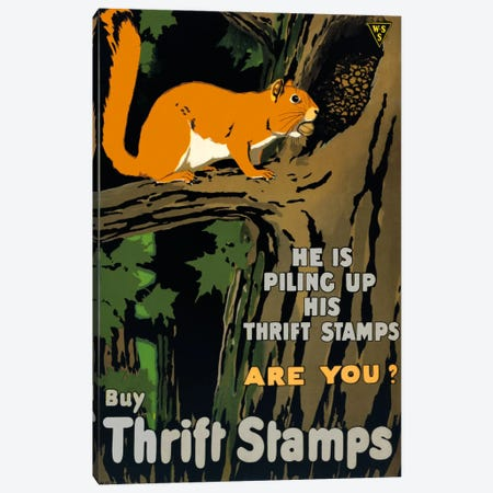 He is Piling up his Thrift Stamps Are You? Canvas Print #PCA136} by Print Collection Canvas Artwork