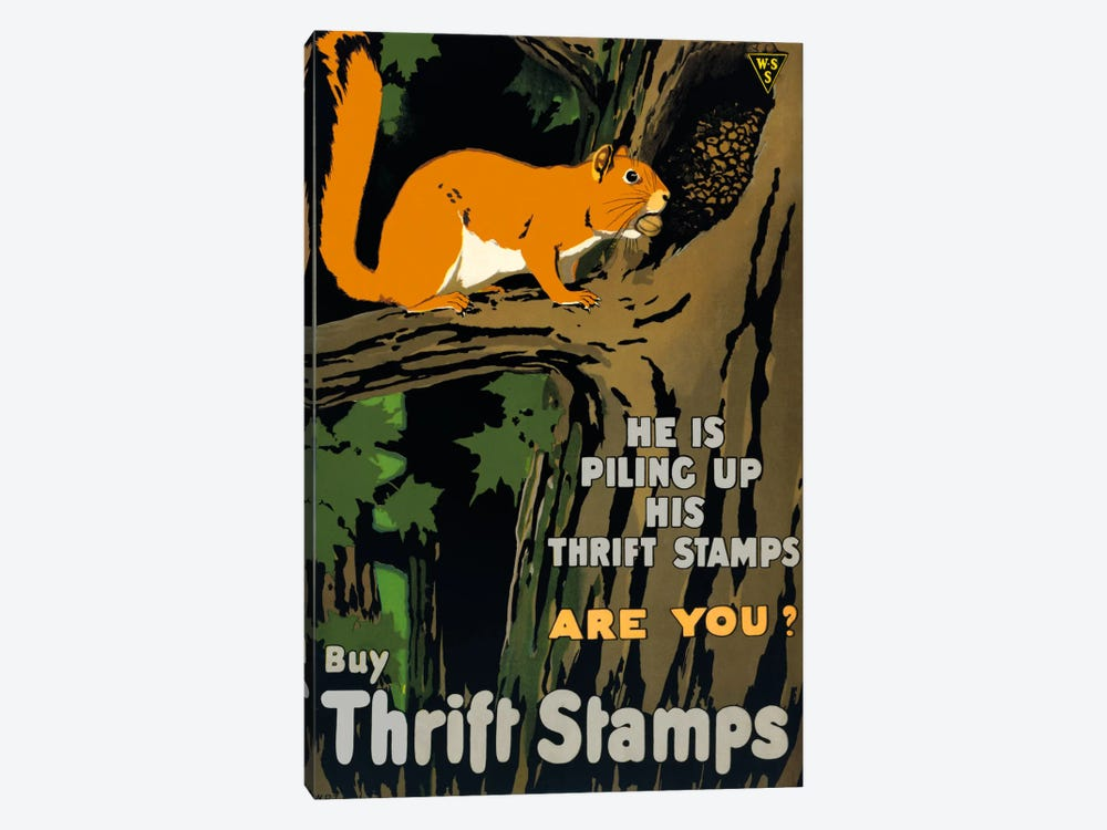 He is Piling up his Thrift Stamps Are You? by Print Collection 1-piece Canvas Art Print
