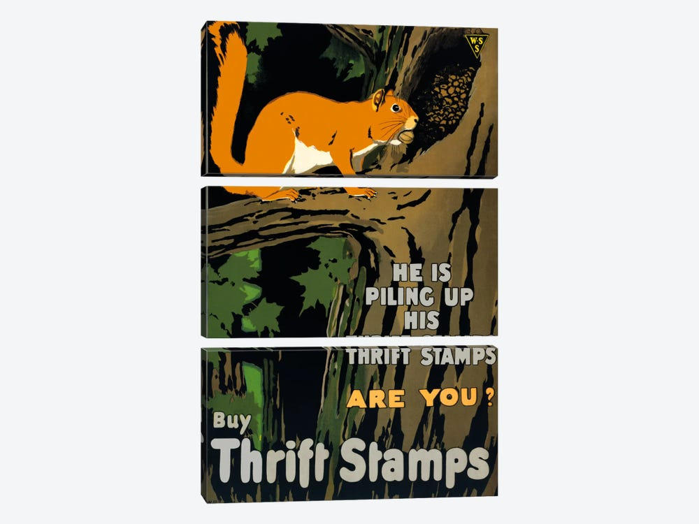 He is Piling up his Thrift Stamps Are You? by Print Collection 3-piece Canvas Print